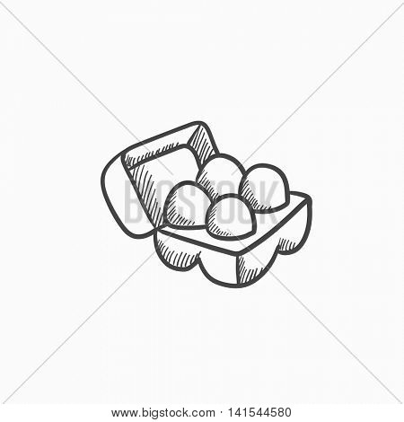 Eggs in carton package sketch icon for web, mobile and infographics. Hand drawn eggs icon. Eggs in the package vector icon. Eggs in the package icon isolated on white background.