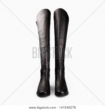 high stylish black female boots in white