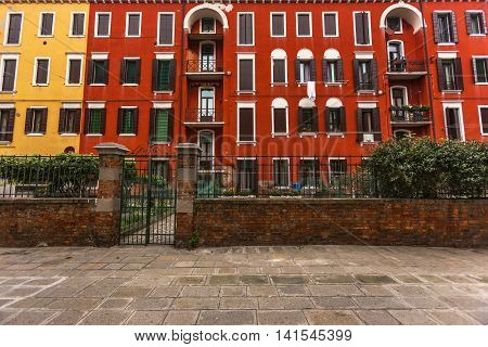 Nice Colorful Apartment Block In Venice, Italy