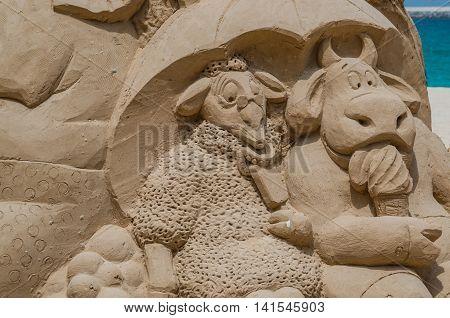 Dubai United Arab Emirates 13 May 2014 Intricate and beautiful sandcastles created on a Dubai beach by Australian Artist  Jenny Rosen
