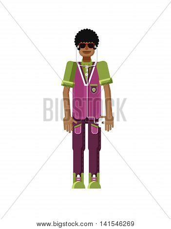 Stock vector illustration isolated of African American man dark hair, with smartphone in hand, man listen music from phone, sportsman, athletic T-shirt, sweatpants, flat style on white background
