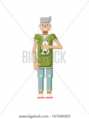 Stock vector illustration isolated of European blonde man in sports shirt and sweatpants, man with smartphone in hand, man listen music from phone in flat style on white background