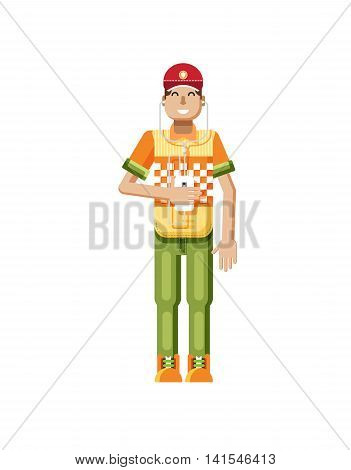 Stock vector illustration isolated of European man with dark hair, huge smile in red cap, man with smartphone in hand, man listen music from phone, T-shirt in flat style on white background