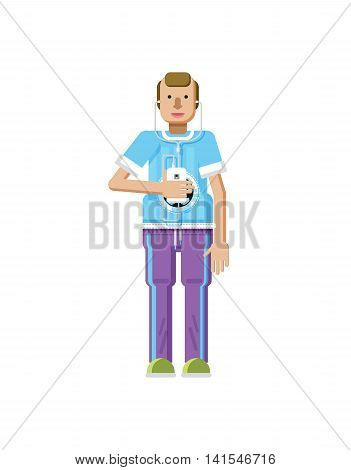 Stock vector illustration isolated of European man with blond hair, receding hairline, smartphone in hand, man listen music from phone, T-shirt with soccer ball in flat style on white background