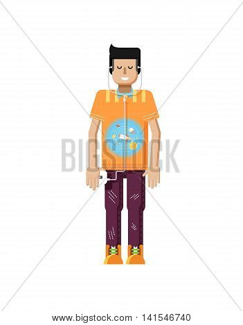 Stock vector illustration isolated of European man with dark hair, man with smartphone in hand, man listen music from phone, T-shirt with space system and rocket in flat style on white background