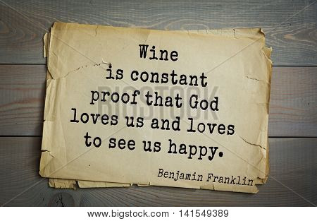 American president Benjamin Franklin (1706-1790) quote. Early to bed and early to rise makes a man healthy, wealthy and wise.