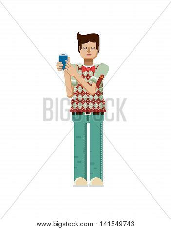 Stock vector illustration isolated of European man with dark hair, man touch screen smartphone by hand, man shows screen of phone, man in polo shirt with diamond pattern, flat style, white background