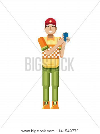 Stock vector illustration isolated of European man with dark hair, huge smile in red cap, man touch screen smartphone by hand, man shows screen of phone, T-shirt in flat style on white background
