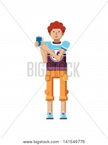 Stock vector illustration isolated of European redhead man with freckles in short orange pants, man touch screen smartphone by hand, man shows screen of phone, T-shirt in flat style, white background