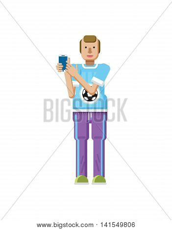 Stock vector illustration isolated of European man with blond hair, receding hairline, smartphone by hand, man shows screen of phone, T-shirt with soccer ball in flat style on white background