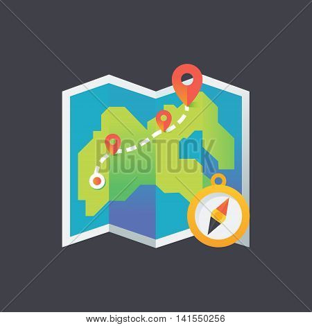 Colorful map with pointers, digital vector icon. Travel planner background illustration.