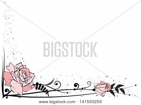vector background with pink roses for corner design