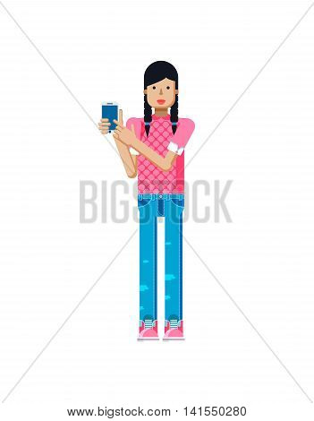 Stock vector illustration isolated of European girl in pink blouse, blue jeans, dark long hair, pigtails, woman touch screen smartphone by hand in flat style on white background