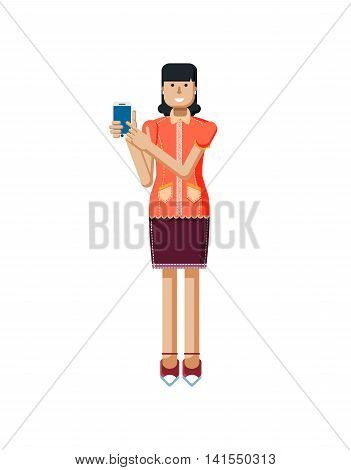 Stock vector illustration isolated of European woman with dark hair, earrings, blouse, touch screen, woman touch screen smartphone by hand, woman shows screen of phone, flat style on white background