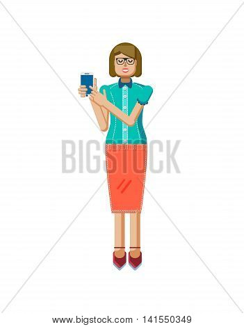 Stock vector illustration isolated of European light brown hair woman, in glasses, woman with skirt, blouse, smartphone by hand, woman demonstrates screen of phone, flat style on white background