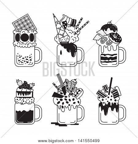 Set Of Giant Milkshakes In Black And White Style.