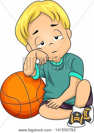 Illustration of a Little Boy Tired After Playing Basketball