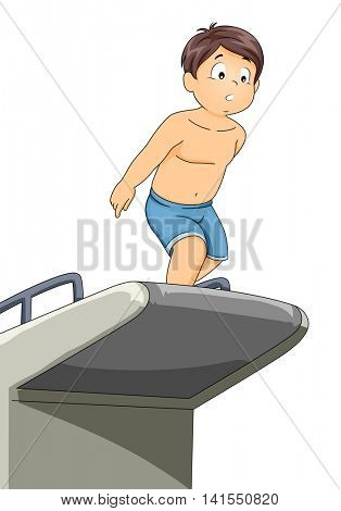 Illustration of a Little Boy Preparing to Jump from a Diving Board