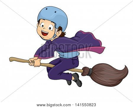 Illustration of a Little Warlock Wearing a Helmet While Riding a Broomstick