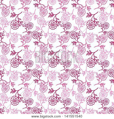 white seamless pattern with pink abstract peony flowers. vector