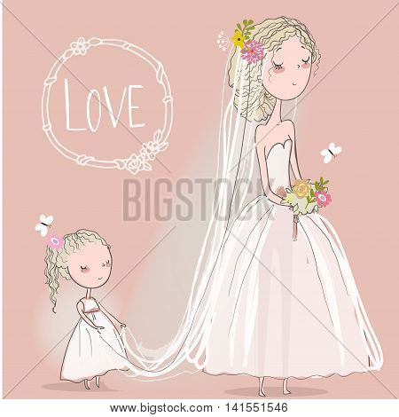 cute bride with a little girl. vector illustration