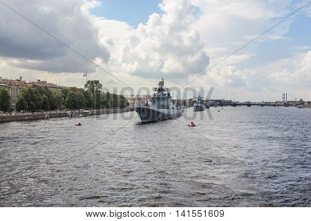 St. Petersburg, Russia - 31 July, The parade of warships in St. Petersburg, 31 July, 2016. Festive parade of warships on the Neva River in St. Petersburg.