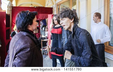 St. Petersburg, Russia - 9 April, The visitor figures from Mick Jagger, 9 April, 2016. Wax Museum Gallery large Gostiny Dvor.