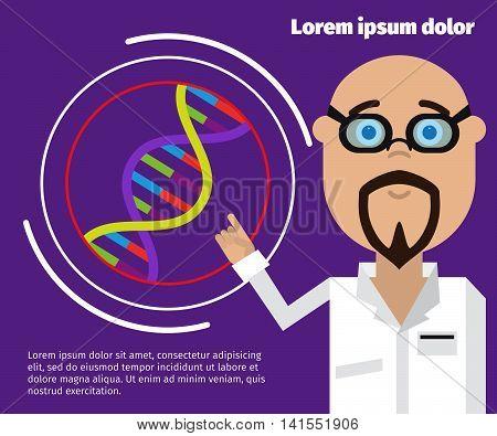 DNA gene flat design helix. DNA vector drawing. Figure gene strand.