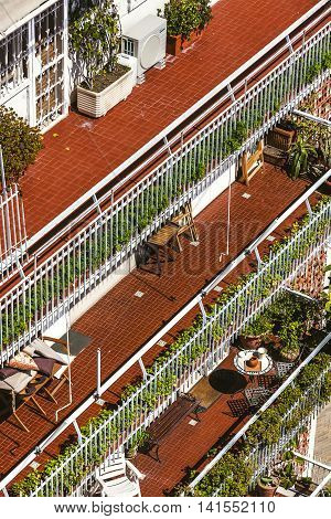 Typical Balconies Of Houses In Naples, Italy