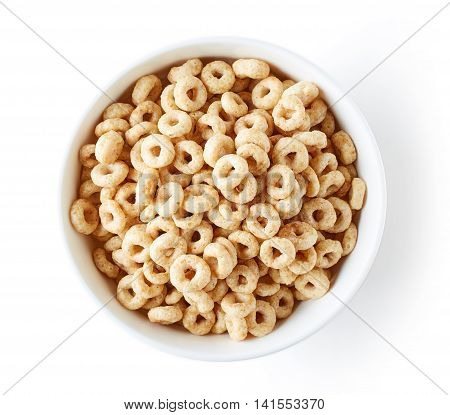 Bowl Of Whole Grain Cheerios Cereal, From Above