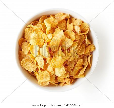 Corn Flakes Bowl Isolated On White, From Above