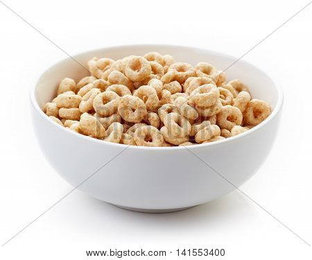 Bowl Of Whole Grain Cheerios Cereal Isolated On White
