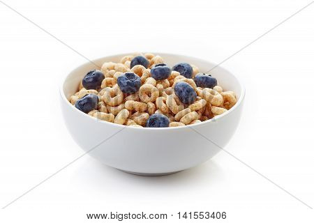 Bowl Of Whole Grain Cheerios Cereal With Blueberries Isolated On White