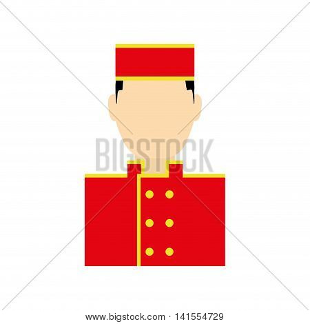 bellboy male hat hotel service icon. Isolated and flat illustration. Vector graphic