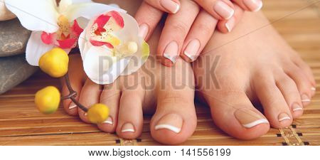 Care for beautiful woman feet with flower .