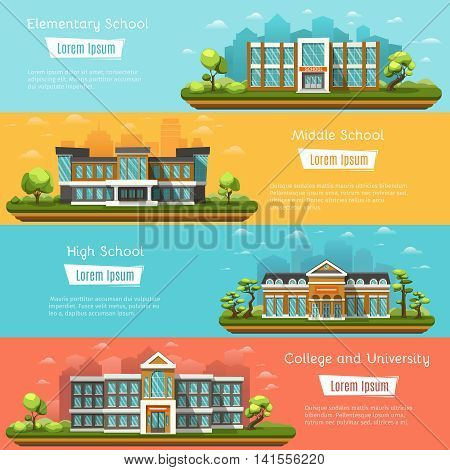 Elementary and Middle School buildings outdoors. College and University. High school on landscape. Four horizontal banners with place for text. Vector illustration.