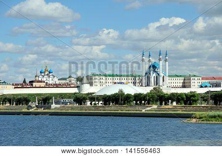 Kazan, Tatarstan, Russia - August 5, 2016. Kazan Kremlin. Kazanka River. At the foot of the hill of the Kazan State Circus building, the inscription on the top of the building,