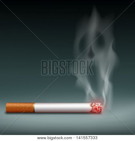 Cigarette with smoke in the form a demon. Harm of smoking. Stock vector illustration.