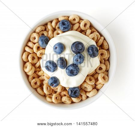 Bowl Of Whole Grain Cheerios Cereal With Blueberries Yogurt, From Above