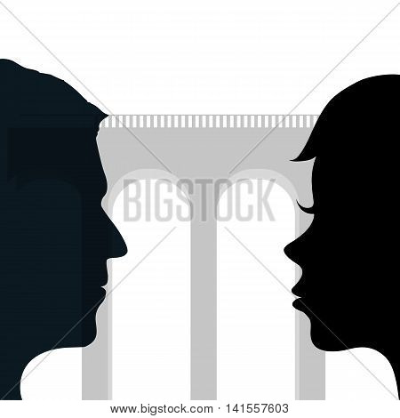 Relationship between a man and a woman. Silhouette of a human head. Stock vector illustration.