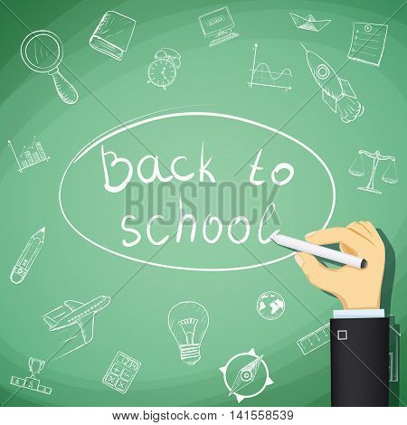 Back to school. Human hand draw doodles on a chalkboard. Stock Vector cartoon illustration.