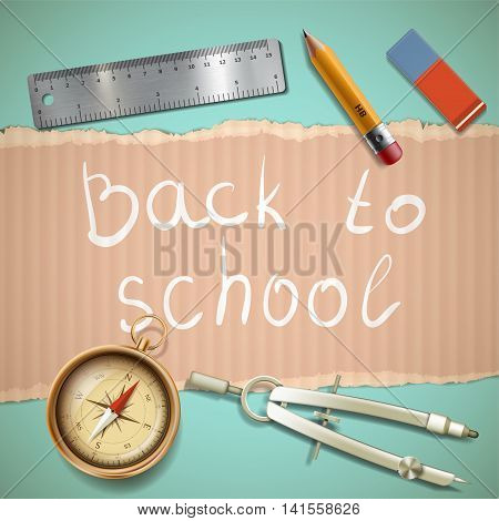 Background of cardboard and stationery. Back to school. Stock vector realistic illustration.