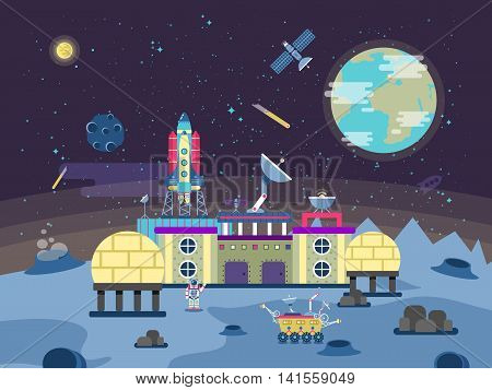 Stock vector illustration of a project to develop the planet surface, a permanent habitable base, Colonization of the moon and near-Earth space in the flat style