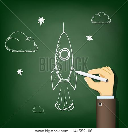 Human hand drawing chalk on a blackboard a rocket. Startup and business. Stock vector illustration.