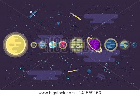 Stock vector illustration of a set of all the planets of the solar system in outer space. The Sun, Mercury, Venus, Earth, Mars, Jupiter, Saturn, Uranus, Neptune, in a flat style