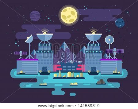 Stock vector illustration of the facade of the station building and ancillary facilities for launching rockets into space for the expedition and research the background of open space in the flat style.
