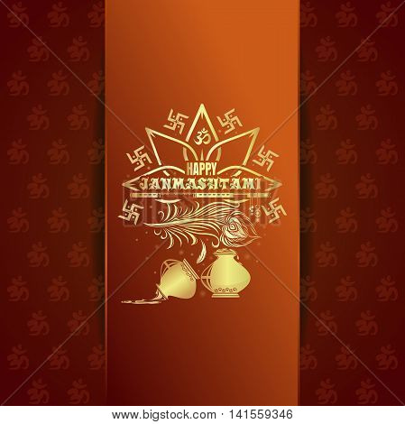 Happy Krishna Janmashtami. Gold logo and lettering on an orange background. Greeting card for annual celebration of the birth of the Hindu deity Krishna. Vector illustration