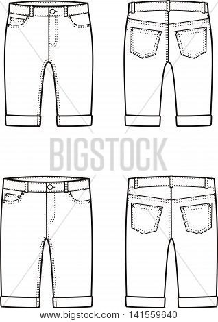 Vector illustration of men's and women's denim breeches. Front and back views