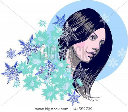 Beautiful girl in a winter ambience, abstract design for beauty salon, cosmetic shop, advertising