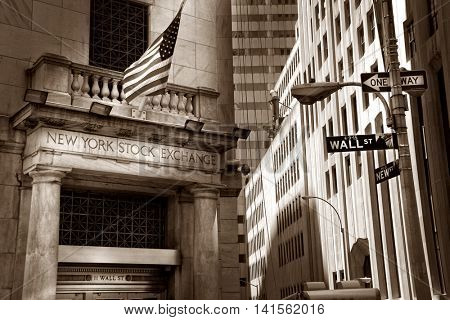 NEW YORK, USA - MAY 12, 2015: Close up shot of stock exchange building. Editorial image